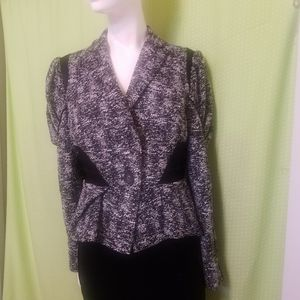 Bebe Black and White Tweed Blazer Size 8